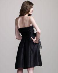 David Meister | Black Strapless Tie-front Dress | Lyst