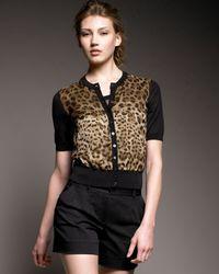 Dolce & Gabbana | Black Leopard-print Cardigan | Lyst