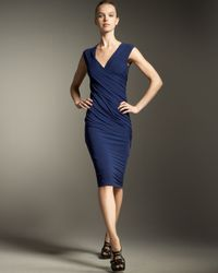 Donna Karan | Blue Twist Jersey Dress | Lyst