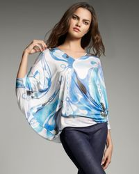 Emilio Pucci | Blue Orchid-print Jersey Poncho | Lyst