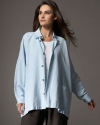 Eskandar - Blue Linen-cotton Shirt Jacket - Lyst