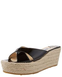 Jimmy Choo | Natural Crisscross Espadrille Wedge | Lyst
