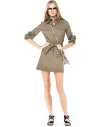 Michael Kors | Green Safari Belted Trench Dress | Lyst