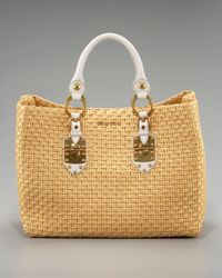 Miu Miu | Natural Leather-trim Straw Tote | Lyst