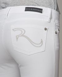 Rock & Republic - White Posey Twill Skinny Ankle Jeans - Lyst