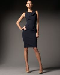 Roland Mouret | Blue Manon Silk and Cotton-blend Dress | Lyst