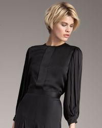 Stella McCartney | Black Pleated-sleeve Blouse | Lyst
