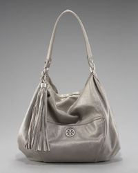 Tory Burch | Metallic Dean Tasseled Hobo, Small | Lyst