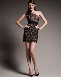 Valentino | Black Lace One Shoulder Dress | Lyst