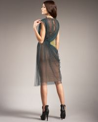 Vera Wang - Green Two-tone Tulle Dress - Lyst