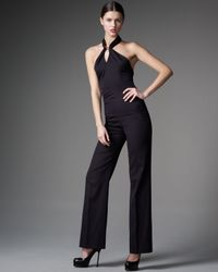 Saint Laurent | Black Silk-crepe Halterneck Jumpsuit | Lyst