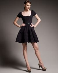 Zac Posen - Black Sheer-striped Dress - Lyst