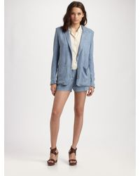 Acne | Blue Tencel Shorts | Lyst