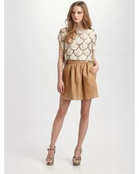 Alice + Olivia | Brown Beaded Silk Top | Lyst