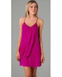 Alice + Olivia - Purple Drapey Panel Dress - Lyst