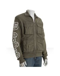 DSquared² - Green Army Cotton Terry Pocket Front Track Jacket for Men - Lyst