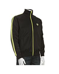 Fred Perry - Black Cotton Striped Sleeve Track Jacket for Men - Lyst