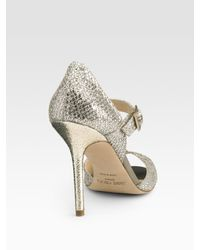 Jimmy Choo | Metallic Lace Glitter Mary Jane Pumps | Lyst