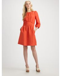 Marc By Marc Jacobs | Red Celia Silk and Linen-blend Dress | Lyst