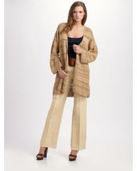 Ralph Lauren Blue Label | Natural Hand-knit Silk/linen Cardigan | Lyst