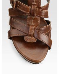 Stuart Weitzman - Brown Gadgetry Buckle Sandals - Lyst