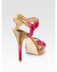 Stuart Weitzman | Pink Strutting Croc-embossed Leather Sandals | Lyst