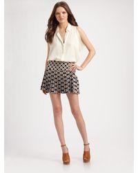 Theory | Blue Sylvian Silk Pleated Skirt | Lyst