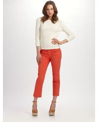 Tory Burch | White Alani Cable-knit Sweater | Lyst