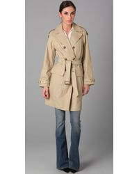 Vince - Green Waxed Belted Trench - Lyst