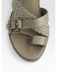 Alexander Wang   Green Braided Strap Mini Wedge Sandals   Lyst