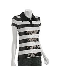 Alice + Olivia | Black Stripe Sequin Polo Shirt | Lyst