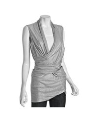 Alice + Olivia | Gray Grey Metallic Linen Drape Wrap Around Sweater | Lyst