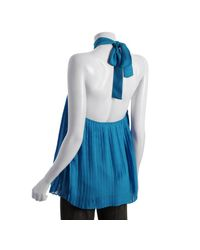 Alice + Olivia | Blue Turquoise Accordion Pleated Silk Halter Top | Lyst