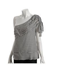 BCBGMAXAZRIA | Gray Black Striped Silk Tiered One-shoulder Blouse | Lyst