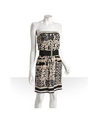 BCBGMAXAZRIA | White Ivory Ikat Printed Stretch Jersey Belted Strapless Dress | Lyst