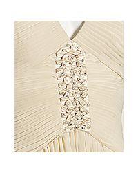 BCBGMAXAZRIA - White Whisper Pleated Chiffon V-neck Gown - Lyst