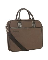 Ben Sherman | Brown Canvas Laptop Messenger Bag for Men | Lyst