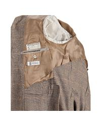 Brunello Cucinelli | Natural Grey and Tan Houndstooth Blazer for Men | Lyst