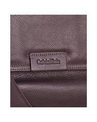 Calvin Klein - Brown Pebbled Leather Messenger Bag for Men - Lyst