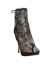 Dior - Black Lace Favorite Corset Detail Peep Toe Booties - Lyst