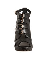 Dior - Black Leather Cavaliere Buckle Sandals - Lyst