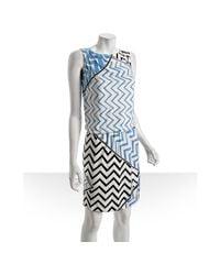 Emilio Pucci - Blue Celestial Zigzag Printed Silk Jersey Dress - Lyst