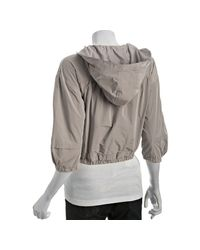 Eryn Brinie | Gray Light Grey Poly Hooded Cropped Rain Jacket | Lyst