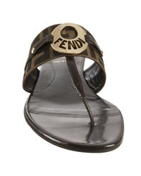 Fendi - Brown Tobacco Zucca Canvas Logo Disc Thong Sandals - Lyst