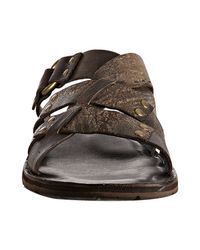 Frye - Brown Chocolate Distressed Leather Ludlow Slides for Men - Lyst