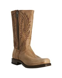 Frye - Brown Tan Stitched Leather Heath Boots for Men - Lyst