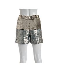 Gryphon - Metallic Gold and Silver Colorblock Sequin Shorts - Lyst