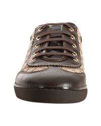 Gucci - Brown Beige Leather Trim Gg Canvas Sneakers - Lyst