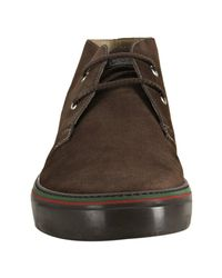 Gucci | Brown Teak Suede Web Striped Chukka Boots for Men | Lyst