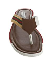 Gucci - Brown Cognac Gg Plus and Web Stripe Thong Sandals for Men - Lyst